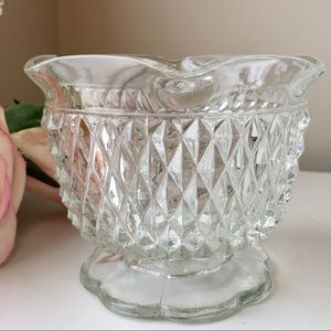 Indiana Glass Diamond Point Clear Candle Bowl